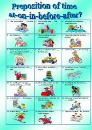 English Worksheets: prepositions of time __at__on__in__before__after