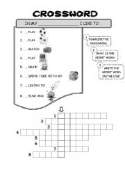 English Worksheets: Crossword - free time