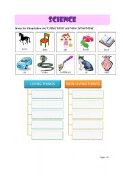 English Worksheet: Grouping the living things and non-living things