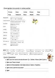 English worksheet: Disney Princess & Frog: Word Scramble with Secret Message