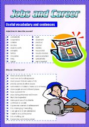 English Worksheet: JOBS AND CAREER useful vocabulary and expressions