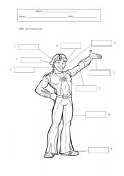 English Worksheets: Label Sportacus� body