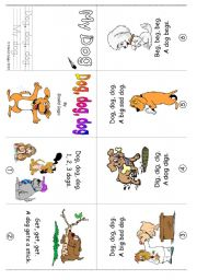 English Worksheets: Mini Book 3: Dog, dog, dog in colour and greyscale
