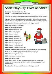 Short Christmas Plays.Short Plays 1 Elves On Strike Esl Worksheet By Philipr
