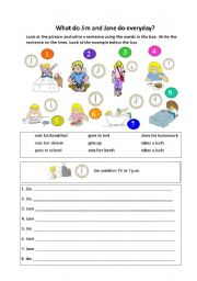 English Worksheets: Daily Routine for Jim and Jane