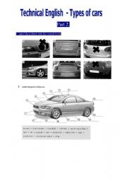 English Worksheet: Technical English Parts of a car 1/3