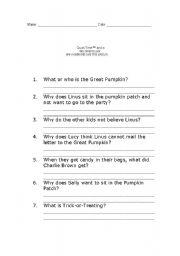 English Worksheet: Charlie Brown Halloween