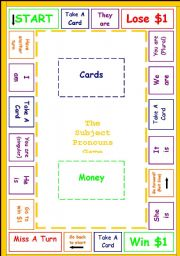 The Subject Pronouns Board Game (black & white & colour versions)