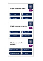 English Worksheet: Who wants to be a millionaire, cards for level A2