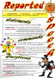 English Worksheet: REPORTED SPEECH (Part 3)