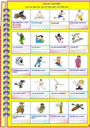 English Worksheet: Can he / she ..? Yes he/she can. No, he/she can´t. He/She can.......(with answer key)**editable