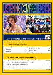 English Worksheet: QUEST for FAME - Talent Sows
