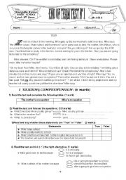 English Worksheets: END OF TERM TEST 8TH FORMS READING COMPREHENSION