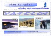 English Worksheet: Time to talk (3) : adventure travel, journeys and holidays