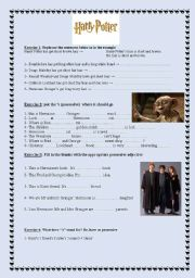 easy exercises related to Harry Potter and the Chamber of Secrets + KEYS