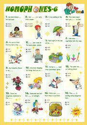 English Worksheet: Homophones-6 (6/8)