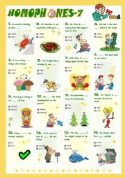 English Worksheet: Homophones-7 (7/8)