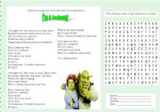 English Worksheet: I´m a believer - Shrek´s song