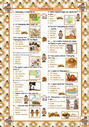 English Worksheet: Thanksgiving Quiz!