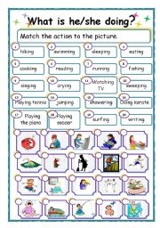 English Worksheet: What is he or she doing?