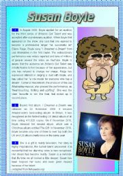 English Worksheets: SUSAN BOYLE reading comprehension exercise
