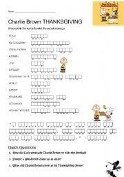English Worksheet: Charlie Brown Thanksgiving