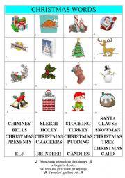 Christmas Words - ESL worksheet by