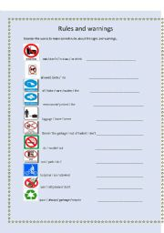 English Worksheet: rules,regulations and warnings