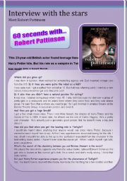 English Worksheets: 60 seconds with Robert Pattinson