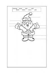English Worksheets: santa�s body