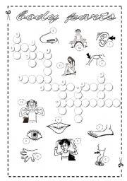English Worksheet: Body Parts - Crossword + Key