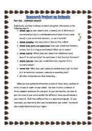 English Worksheets: research on animals