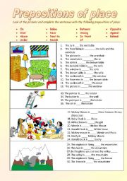 English Worksheet: prepositions of place - ON , UNDER, AMONG, BETWEEN,IN FRONT OF, BESIDE, NEXT TO......
