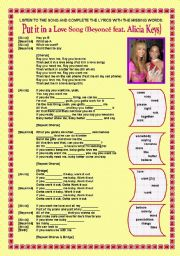 Song activity - Beyoncé & Alicia Keys - Put it in a love song