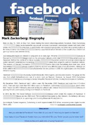 English worksheet: Tense review biography of  Mark Zuckerberg