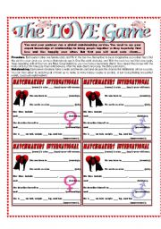 English Worksheet: The LOVE Game - Love and Relationship Matchmaking Activity