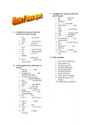 English Worksheet: Have/has got - affirmative, negative, questions