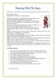 English Worksheets: Dancing With The Stars reading comprehension