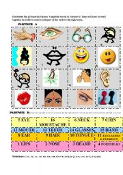 English Worksheets: Parts of the body/face - ACTIVITY CARDS