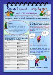 English Worksheet: Reported speech - step by step * Step 1 * Grammar part 1