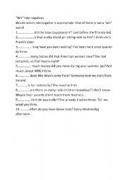 English worksheet: Using interrogatives