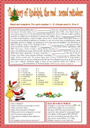 English Worksheet: THE STORY OF RUDOLPH: THE RED.NOSED REINDEER.