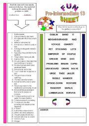 English Worksheets: FunSheet Pre-Intermediate #13