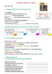 English Worksheet: song hey soul sister by train