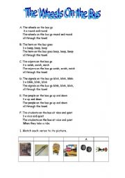 English Worksheet: The Wheels On the Bus - 2 pages