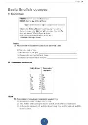 English worksheet: possessive  ´s and possissive pronouns