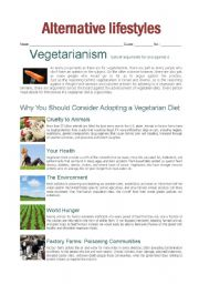 English Worksheet: arguments for and against vegetarianism