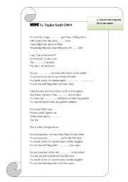 English Worksheets: Song Activity - Taylor Swift / Mine