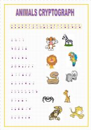 English Worksheets: animals cryptograph