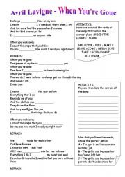 English Worksheets: Avril lavigne - When you�re gone